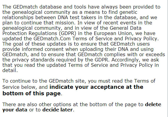 GEDmatch intro screen